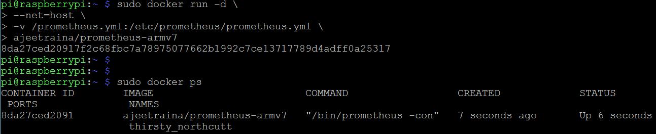 Running Prometheus Docker container for monitoring